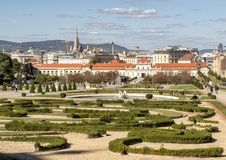 Garden and Lower Belvedere Palace, Vienna, Austria stock images