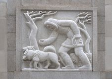 `Eskimo` by Edmond Amateis, Robert N.C. Nix, Sr. Federal Building & Post Office. Pictured is a granite relief sculpture, `Eskimo`, by Edmond Amateis on the North stock images