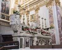 White marble high altar of the Matera Cathedral Royalty Free Stock Photography