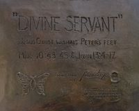 `Divine Servant` bronze statue in front of Park Cities Baptist Church, Dallas, Texas. Pictured is the information for a bronze statue by Max Greiner Jr. titled ` royalty free stock photo