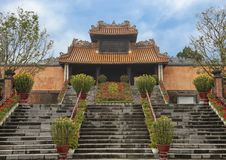 Kheim Cung Gate, beautifully decorated for Tet 2019, Tu Duc Royal Tomb, Hue, Vietnam. Pictured is Kheim Cung Gate beautifully decorated with flowers for Tet 2019 stock photography