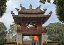 Khue Van Pavilion, second courtyard, Temple of Literature, Hanoi, Vietnam. Pictured is the Khue Van Pavilion in the second courtyard of the Temple of Literature stock photos