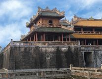Left end of the Noon Gate, Entrance to the Imperial City, Hue. Pictured is the left end of the entrance to the Imperial City in the Citadel in Hue, Vietnam. It royalty free stock photography