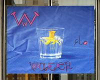 Letter W for Water, vinyl banner, Immigrant Alphabet Project, Philadelphia. Pictured is the Letter W for Water of the Immigrant Alphabet Project. The work was co stock image