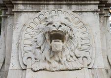 Lion base of Mors Immortalis monument, Piazza della Vittoria, Sorrento. Pictured is a lion head on the base of the Mors Immortalis monument in the Piazza della Royalty Free Stock Photo