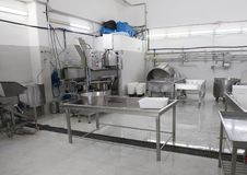 Cheese making machiney of L`Amordi Latte, a company that produces all types of cheese in Cavallino, Italy. Royalty Free Stock Images