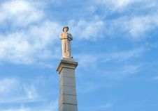 Statue of a Confederate Soldier , The Confederate War Memorial in Dallas, Texas. Pictured is a marble statue of a Confederate Soldier atop a 60-foot pillar in stock photography