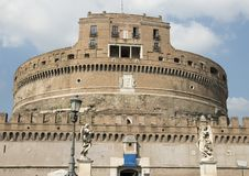 Castel Sant`Angelo in Parco Adriano, Rome, Italy. Pictured is The Mausoleum of Hadrian, usually known as Castel Sant`Angelo or in English the Castle of the Holy Royalty Free Stock Photos