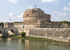 Castel Sant`Angelo in Parco Adriano, Rome, Italy. Pictured is The Mausoleum of Hadrian, usually known as Castel Sant`Angelo or in English the Castle of the Holy Stock Images