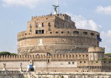 Castel Sant`Angelo in Parco Adriano, Rome, Italy. Pictured is The Mausoleum of Hadrian, usually known as Castel Sant`Angelo or in English the Castle of the Holy Stock Photography