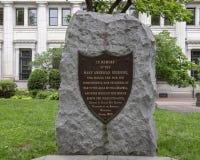 Memorial metal shield on rock, Northeast Quadrant, Washington Square, Philadelphia Stock Photo