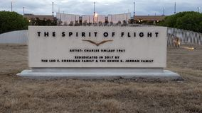Monument sign, The Spirit of Flight Bronze, Love Field, Dallas, Texas. Pictured is the monument sign for The Spirit of Flight Bronze located at Love Field in royalty free stock photography