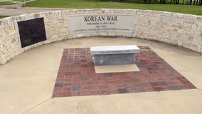 Monument for soldiers who died in the Korean War in the Veteran`s Memorial Park, Ennis, Texas royalty free stock photo