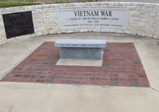 Monument for soldiers who died in the Vietnam War in the Veteran`s Memorial Park, Ennis, Texas. Pictured is a monument for soldiers who died in the Vietnam War royalty free stock photography