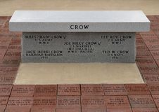 Monument for some soldiers with last name Crow who died serving our country - Veteran`s Memorial Park, Ennis, Texas. Pictured is a monument for some soldiers stock photo