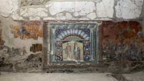 Mosaic of Neptune and Amphitrite, House of the Neptune Mosaic in Parco Archeologico di Ercolano. Pictured is a Mosaic of Neptune and Amphitrite, House of the Stock Photography