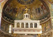 Mosaic representation of the Coronation of the Virgin, Basilica of Santa Maria in Trastevere. Pictured is the mosaic representation of the `Coronation of the royalty free stock image