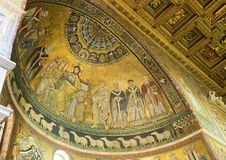 Mosaic representation of the Coronation of the Virgin, Basilica of Santa Maria in Trastevere. Pictured is the mosaic representation of the `Coronation of the stock photos