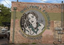 Whitehall Exchange mural, Bishop Arts District, Dallas, Texas. Pictured is mural on the end of the Whitehall Exchange building in the Bishop Arts District royalty free stock photography