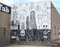 Cactex Mural, Bishop Arts District, Dallas, Texas. Pictured is a mural entiltled #Cactex, painted by Dallas artist Wheron in the Bishop Arts District, Dallas royalty free stock photo