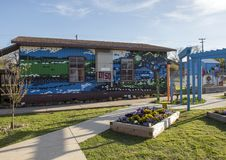 Mural in the garden of John H. Reagan Elementary, Bishop Arts District, Dallas, Texas. Pictured is a mural in the garden of John H. Reagan Elementary school in royalty free stock image