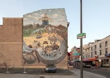 `History of Chinatown` by Arturo Ho, Chinatown, Philadelphia, Pennsylvania. Pictured is the mural `History of Chinatown` by Arturo Ho. It is on the famous Mural stock images