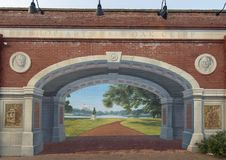 Mural, Bishop Arts District, Dallas, Texas. Pictured is a mural on the side of the Bishop Treet Market, painted by the Oak Cliff Mural Studio Eyecon. Through the royalty free stock image