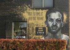 Lee Harvey Oswald Mural, Bishop Arts District, Dallas, Texas. Pictured is a mural on the side of the Members Only barber shop in the Bishop Arts District, Dallas stock image