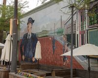 Whitehall Exchange mural, Bishop Arts District, Dallas, Texas. Pictured is mural on the side of the Whitehall Exchange building in the Bishop Arts District royalty free stock image