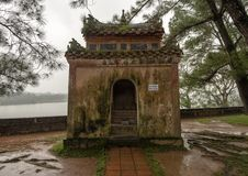 Small pavilion beside the seven story Phuoc Duyen tower in the Thien Mu Pagoda, Hue, Vietnam. Pictured is one of four small pavilions beside the Phuoc Duyen stock photography