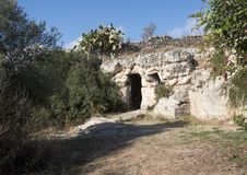 La Chiesa di San Lorenzo, Parco Rupestre Lama D`Antico. Pictured is the outside front of an ancient cave church, La Chiesa di San Lorenzo, in the Parco Rupestre Royalty Free Stock Images
