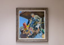 Will Rogers oil on canvas painting, Claremore, Oklahoma. Pictured is a painting of Will Rogers by Walter M. Baumhofer in the Will Rogers Memorial Museum in Royalty Free Stock Images