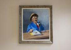 Will Rogers oil on canvas painting, Claremore, Oklahoma. Pictured is a painting of Will Rogers by Young in the Will Rogers Memorial Museum in Claremore, Oklahoma Stock Photos