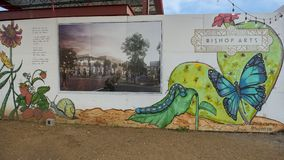 Mural Plaza, Bishop Arts District, Dallas, Texas. Pictured is a part of the mural encircling the new mural plaza in the Bishop Arts District, Dallas, Texas. The royalty free stock image