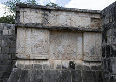 Closeup Platform of the Eagles and Jaquars, Chichen Itza. Pictured is the Platform of the Eagles and Jaguars in Chichen Itza.  It has intricate carvings on all Royalty Free Stock Photography