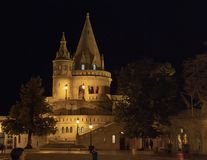 Portion of the Fisherman`s Bastion at night, Budapest, Hungary royalty free stock images