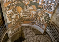 Artwork inside the Round tower Southeast corner, fortified church of St. Michael royalty free stock photo
