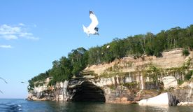 Pictured rock. S on superior lake shore Royalty Free Stock Images