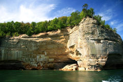 Pictured Rocks. Indian face point at Pictured Rocks along the Lake Superior shore; Michigan's Upper Peninsula stock photos