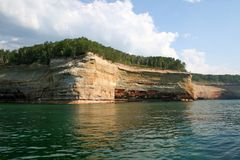 Pictured rocks. Panorama of pictured rocks national lake shore Stock Images