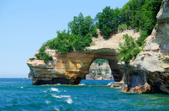 Pictured rocks on lake Superior. Pictured rocks arch on lake Superior shore of Michigan's upper peninsula stock photography