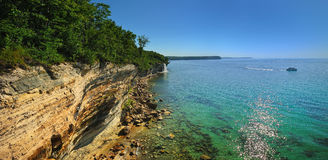 Pictured Rocks National Lake Shore, Michigan USA. Tour boat on Lake Superior, viewing Pictured Rocks National lake-shore, and Spray Falls. Near Munising Michigan stock photos