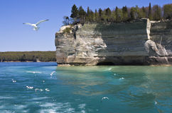 Pictured Rocks National Lakeshore. Cliffs in Pictured Rocks National Lakeshore stock images