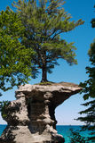 Pictured Rocks National Lakeshore. Chapel rock with the iconic pine tree on top. Pictured Rocks National Lakeshore, Munising, Michigan stock image