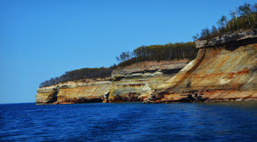 Pictured Rocks. National Seashore landscape from the Upper Peninsula in Michigan stock photo