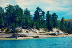 Pictured Rocks. National Seashore landscape from the Upper Peninsula in Michigan stock images