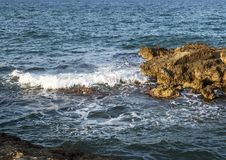 Rocky shoreline of Adriatic Sea at Borgo Ignazio Resort, Savelletri di Fasano. Pictured is a rocky shoreline at the Borgo Ignazio Resort in Savelletri Di Fasano Stock Photo