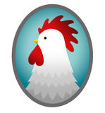 Pictured rooster. In cartoon style on a white background Stock Image