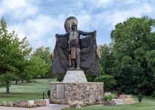 Chief Touch the Clouds sculpture, Edmond, Oklahoma. Pictured is a sculpture of Chief Touch the Clouds, a Lakota Sioux warrior known for his bravery and skill in stock photo