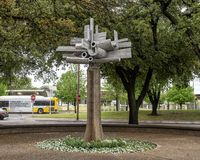 Astral Flower by Jose Luis Sanchez in downtown Dallas, Texas. Pictured is a sculpture titled `Astral Flower` by Jose Luis Sanchez in downtown Dallas, Texas.  t stock photo